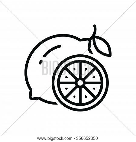 Black Line Icon For Lemon Fresh Citron Sour Refreshment Slice Taste Cut Fruit