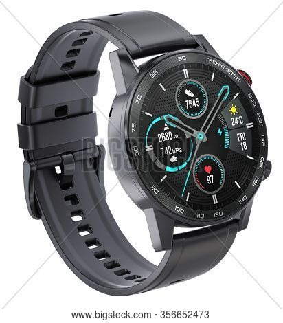Sport Smart Watch With Silicone Wristband Isolated On White Background - 3d Illustration