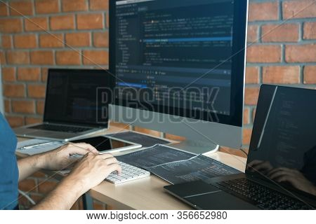 Asian Man Working Code Program Developer Computer Web Development Working Design Software On Desk In