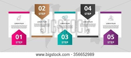 Vector Template Shape Infographic. Business Concept With 5 Arrows And Labels. Five Steps For Graph,