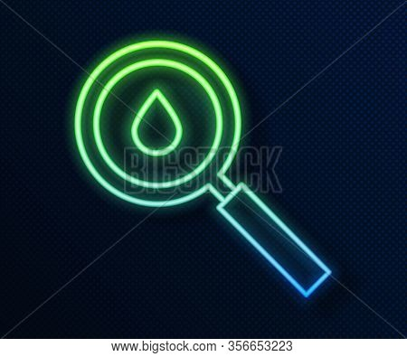 Glowing Neon Line Oil Drop Icon Isolated On Blue Background. Geological Exploration, Geology Researc