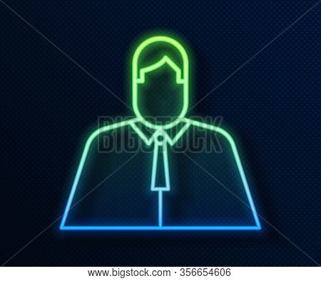 Glowing Neon Line Lawyer, Attorney, Jurist Icon Isolated On Blue Background. Jurisprudence, Law Or C