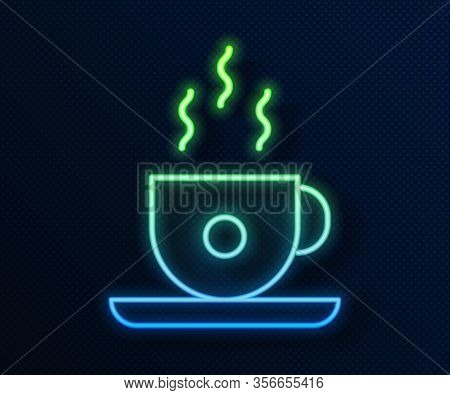 Glowing Neon Line Coffee Cup Icon Isolated On Blue Background. Tea Cup. Hot Drink Coffee. Vector Ill