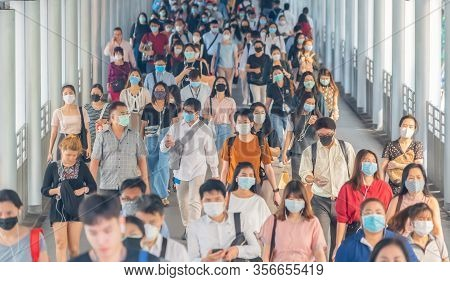 Bangkok City, Thailand : 03/12/2020 : Unidentified People, Crowd Of Thai Wearing Face Mask For Healt