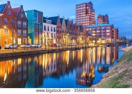 Amersfoort, Netherlands cityscape in the Vathorst district at twilight.