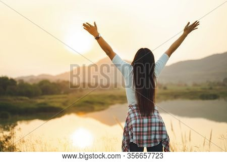 Happy Woman Spreading Arms And Watching The Mountain. Travel Lifestyle Success Concept Adventure Act