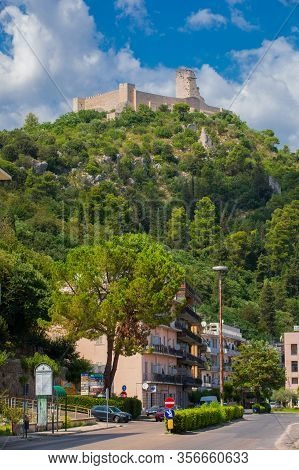 Cassino / Italy. August 17, 2019: Rocca Janula Fortress. Centuries Castle. The Rocca Janula Was For