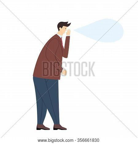 Man Expressing Anger, Wrath, Rage, Fury Or Whisper A Secret, Isolated On White Background. The Angry