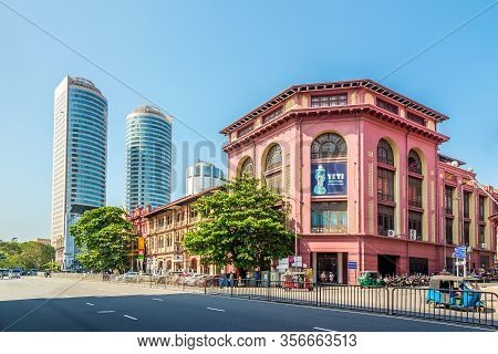 Colombo,sri Lanka - February 18,2020 - Old Buildings And Wtc Towers In The Streets Of Colombo. Colom