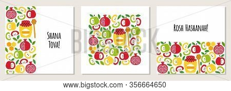Cute Set Of Greeting Banner Backgrounds With Symbols Of Jewish New Year Holiday Rosh Hashana, Shana