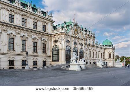 Vienna, Austria - April 17, 2019: The Upper Belvedere Palace. Main Palace Complex Belvedere At Vienn