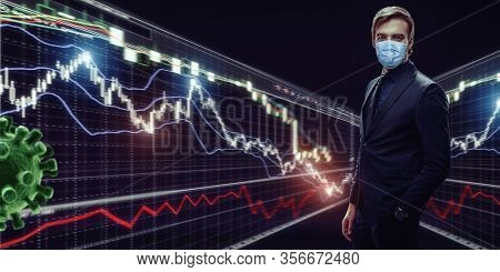A businessman poses in a suit and medical mask against a backdrop of changing schedules and flying bacteria. Economic crisis. Pandemic. Business.