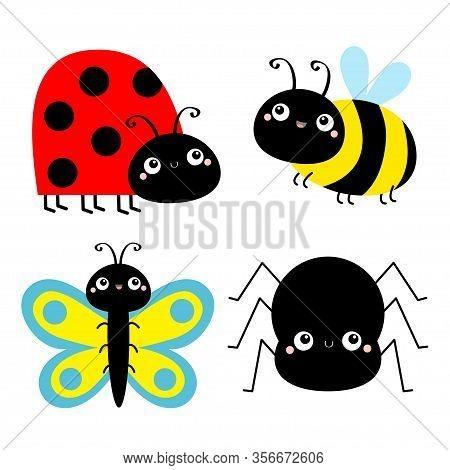 Insect Set. Ladybug Ladybird, Bee Bumblebee, Butterfly, Spider, Lady Bug. Cute Cartoon Kawaii Baby A