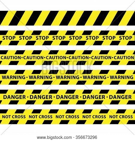 Yellow And Black Barricade Construction Tape Collection. Police Stripe. Vector Illustration.