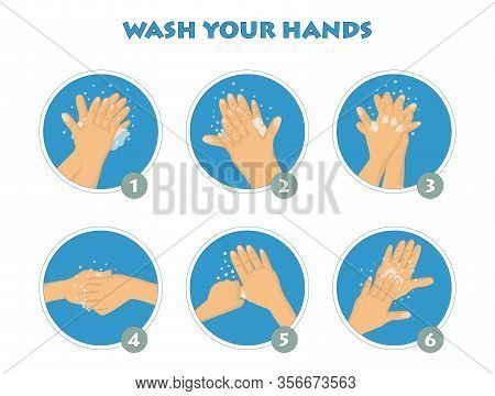 How To Wash Your Hands Infographic. Hand Washing Instruction Step By Step. Personal Hygiene, Disease