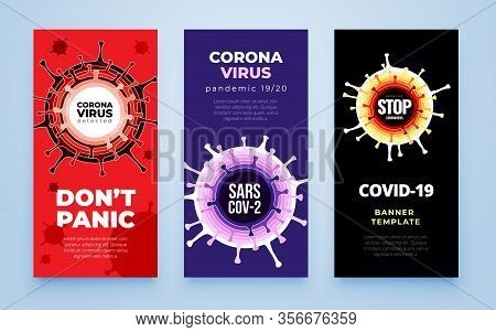 Coronavirus Covid-19 Sars-cov-2 Social Media Banner On A Color Background. Virus Infections Preventi
