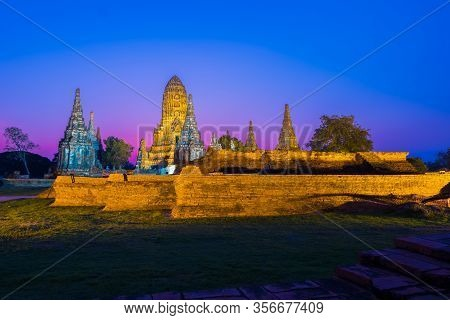 Landscape Of  Wat Chai Watthanaram Temple In Buddhist Temple Is A Temple Built In Ancient Times At A