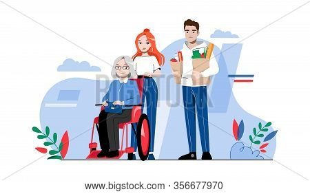 Concept Of Elderly People Help. Senior Woman In Wheelchair With Caring Volunteers Outdoor. Young Peo