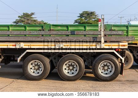Trailer A Large Truck Carrying Billet For Processing Into Other Products In Front Of The Rolling Mil