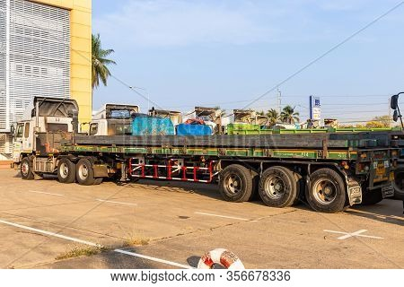 Nakhon Ratchasima, Thailand February 17 2020. Many Large Trucks Transport Billet For Processing Into