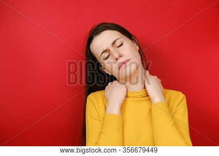 Upset Young Woman Feeling Stiff Sore Neck Pain Concept Rubbing Massaging Tensed Muscles Suffer From
