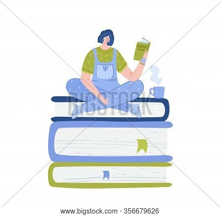 Girl Reading Book With Tea Cup, Student Read And Study, Literature Fan Or Lover Concept, Woman Rests