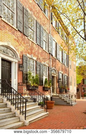 Philadelphia, Pennsylvania, United States - April 23, 2011: Traditional Brick House In The Old City