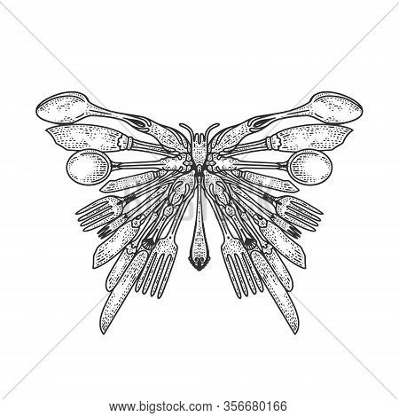 Butterfly Silhouette Made Of Cutlery Sketch Engraving Vector Illustration. T-shirt Apparel Print Des