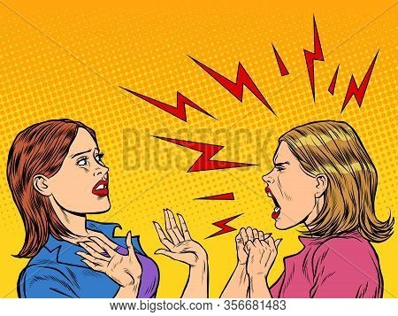 Two Angry Women Scream. Pop Art Retro Vector Illustration Vintage Kitsch 50s 60s Style