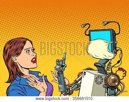 Woman And Robot Wearing A Medical Mask. Coronavirus Epidemic. Pop Art Retro Vector Illustration Vint