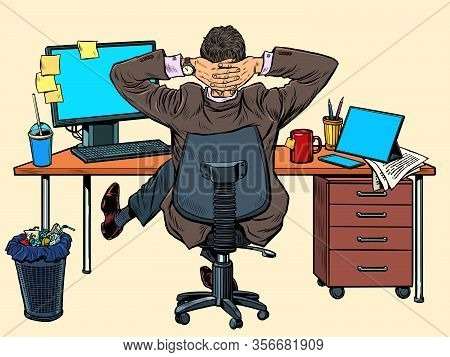 Businessman Resting In The Office At His Desk. Pop Art Retro Vector Illustration Vintage Kitsch 50s