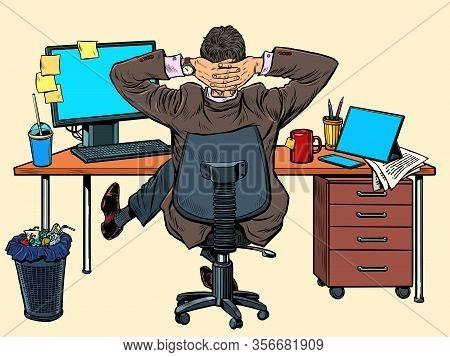 Businessman Resting In The Office At His Desk. Pop Art Retro Vector Illustration Vintage Kitsch 50s