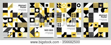 Neo Geometric Posters. Modern Grid Pattern With Geometrical Shapes. Abstract Yellow, White And Black