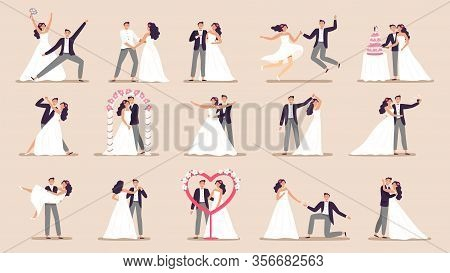 Wedding Couples. Bride In Wedding Dress, Just Married Couple And Marriage Ceremony Cartoon Vector Il