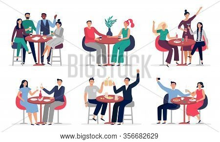 People Sitting At Cafe Table. Couples In Love On Date, Cafe Meeting With Friends Vector Illustration