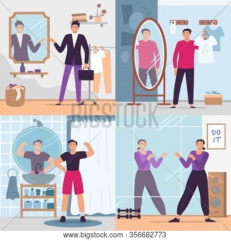 Man Looking In Mirror. Vector Illustration Set. Handsome Man In Gym Or Fitting Room. Fashion Glamour
