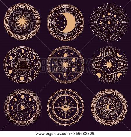 Mystic Circle Symbols. Vector Illustration Set. Astrology Moon And Pyramid, Eclipse Spirituality, Fr