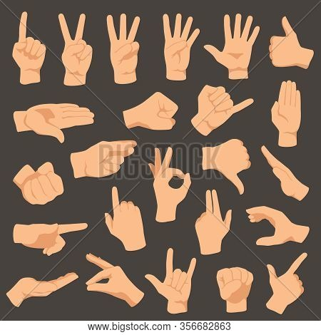 Hands Gestures. Vector Illustration Set Of Gesture Hand, Collection Pointing And Ok, Hold And Press,