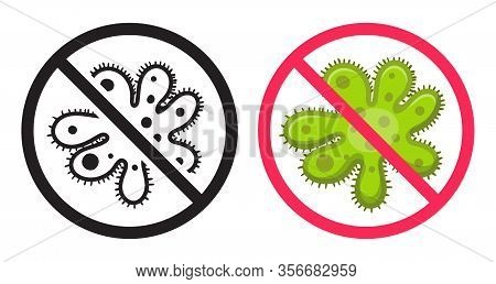 Antibacterial Icon. Vector Icons Set, Ban Virus. Illustration Forbidden Icon, Bacteria And Infection
