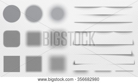 Realistic Shadows Dividers. Line Shadow, Transparent Overlay Template Vector Illustration Set. Shado