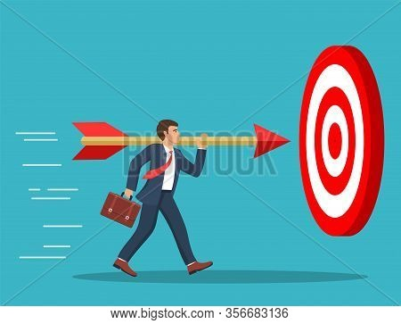 Businessman Aim Arrow To Target. Goal Setting. Smart Goal. Business Target Concept. Achievement And