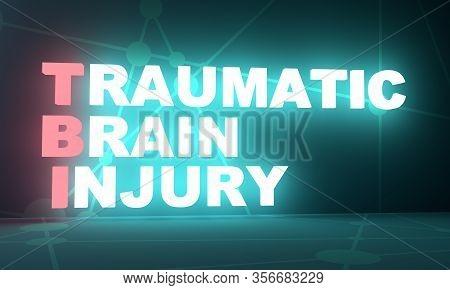 Tbi - Traumatic Brain Injury Acronym. Health Concept Background. 3d Rendering. Neon Bulb Illuminatio