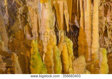 Impressive Formations Of The Stalactites And Stalagmites In Dirou Cave. Greek Destination .natural B