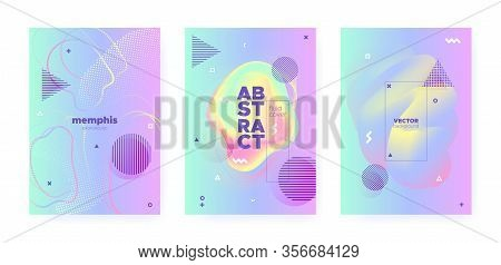 Rainbow Pastel Cover. Abstract Gradient Illustration. Wave Design. Music Placard. Pink Pastel Shape.