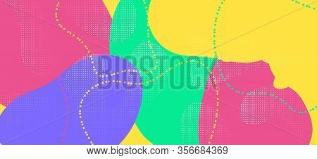 Colorful Memphis Page. Fashion Abstract Composition. Futuristic Wave Brochure. Multicolor Cool Artwo