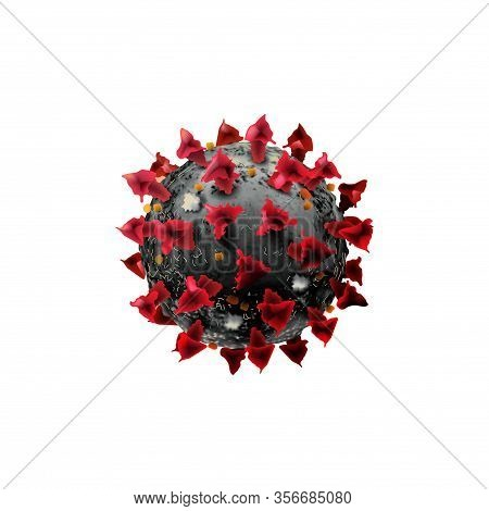 Covid-19 Isolated On A White Background Chinese Coronavirus Under The Microscope. Realistic Vector 3