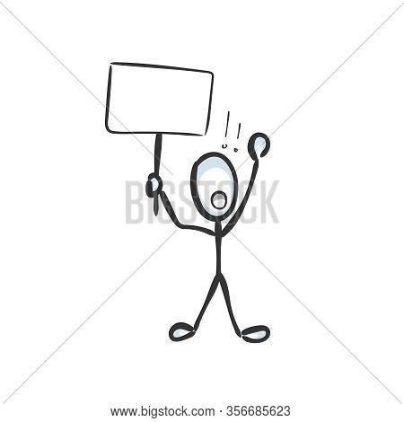 Man Prostest With Banner. Shout Boycott And Demand. Hand Drawn. Stickman Cartoon. Doodle Sketch, Vec