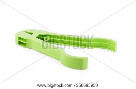 Spoon Tongs Isolated On White Background  Rope, Yellow, Colored, Clothespin, Peg