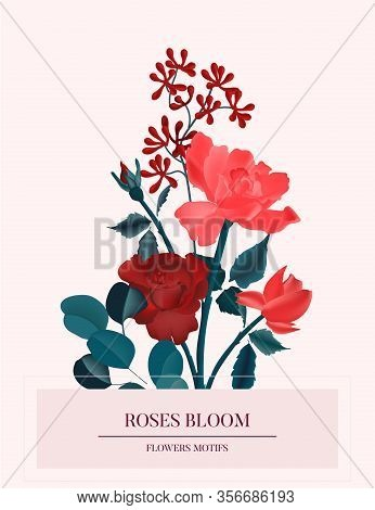 Amore Red Roses Romantic Flower Card. Nature Botanical Spring Concept, Holiday Greeting Save The Dat