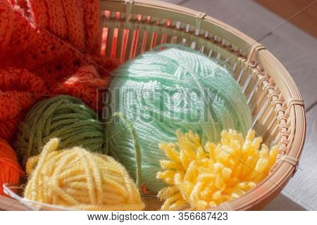 Color Knitting Yarn And Thread For Knitting Closeup. Multicolored Skeins. Knitting As A Hobby. Acces